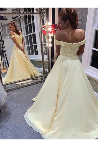 Elegant Off The Shoulder A-Line Chiffon&Satin Sweep Train Simple Prom STCPTJ1FRBQ