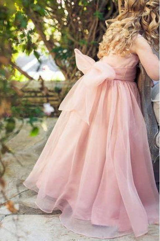 Cute Pink Tulle Flower Girl Dresses with Sash Floor Length, Round Neck Child Dresses STC15575