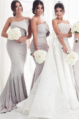 Strapless Silver Mermaid Elegant Long Sleeveless Prom Dresses Bridesmaid Dresses