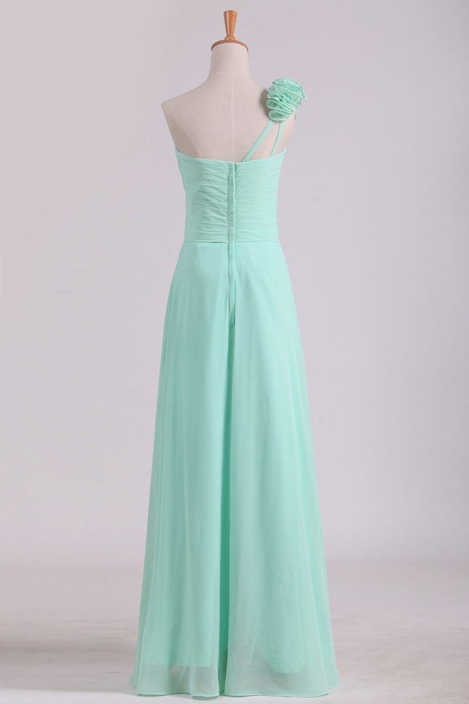 2021 A Line One Shoulder With Handmade Flowers Chiffon Bridesmaid Dress