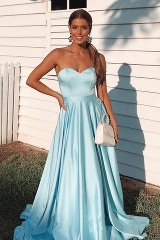 Simple A Line Sky Blue Sweetheart Satin Prom Dresses Cheap Formal STC15670