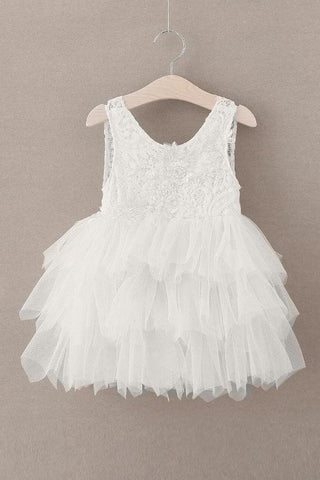 Cute Round Neck White Flower Girl Dresses Open Back Tulle Wedding Party Dresses STC15136