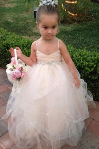 Princess Tulle Beading Spaghetti Straps Bowknot Flower Girl Dresses Lovely Tutu Dress