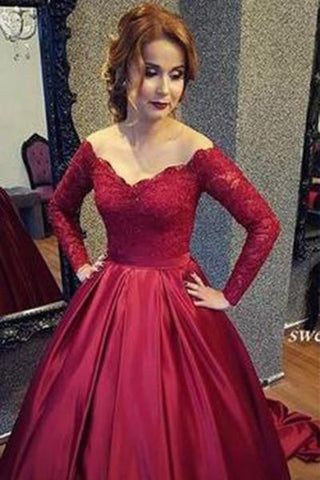 Vintage Long Sleeve Lace Sequins Off Shoulder Prom