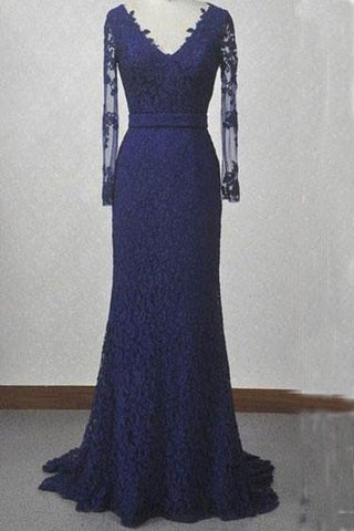 V-Neck Navy Blue Lace Mermaid Long Sleeves Open Back Floor-length Prom Dresses