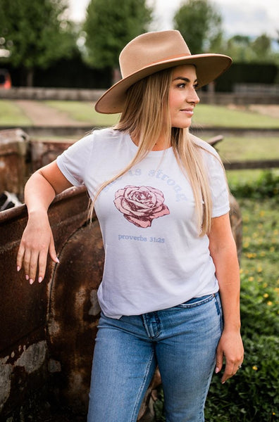 Vintage Rose - She is strong Tee
