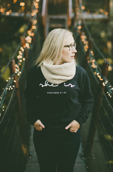 SHE IS Black Crewneck Sweatshirt