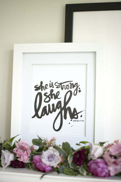 SHE LAUGHS Print (Black/Gold Foil)