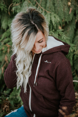 Heather Burgundy -Sherpa lined Hoodie