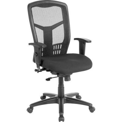 Lorell Executive High-back Swivel Chair - Black Fabric Seat - Steel Frame - Black