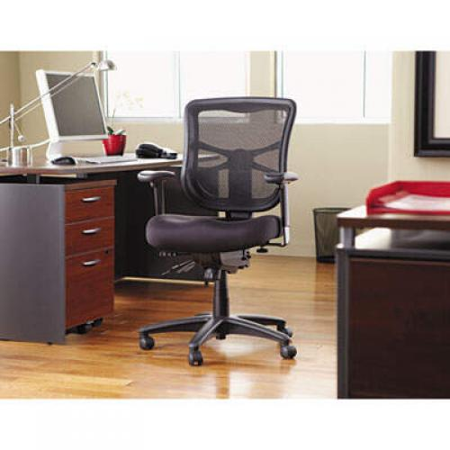 Alera Elusion Series Mesh Mid-Back Multifunction Chair, Supports up to 275 lbs, Black Seat/Black Back, Black Base (EL42ME10B)