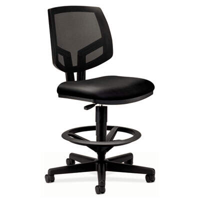 "HON Volt Series Mesh Back Adjustable Leather Task Stool, 32.38"" Seat Height, 250lbs max., Black Seat/Back, Black Base"