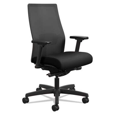 HON Ignition 2.0 4-Way Stretch Mid-Back Mesh Task Chair, Supports up to 300 lbs., Black Seat/Back, Black Base (I2M2AMLC10TK)