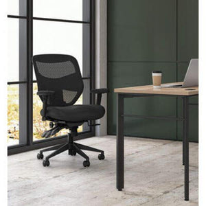 HON VL531 Mesh High-Back Task Chair with Adjustable Arms, Supports up to 250 lbs., Black Seat/Black Back, Black Base