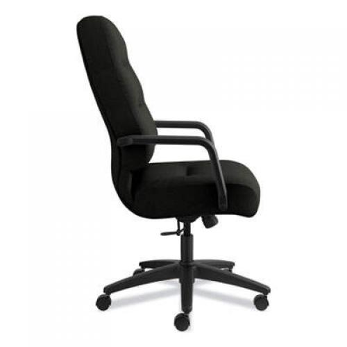HON Pillow-Soft 2090 Series Executive High-Back Swivel/Tilt Chair, Supports up to 300 lbs., Black Seat/Black Back, Black Base (2091SR11T)