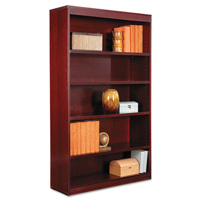 "Alera Square Corner Wood Veneer Bookcase, Five-Shelf, 35.63""w x 11.81""d x 60""h, Mahogany"