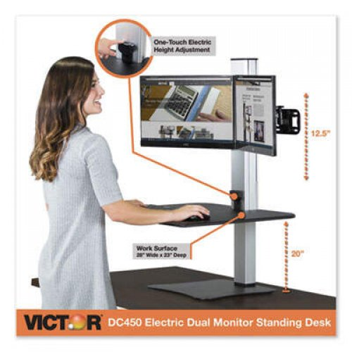 Victor DC450 High Rise Electric Dual Monitor Standing Desk Workstation - Black/Aluminum
