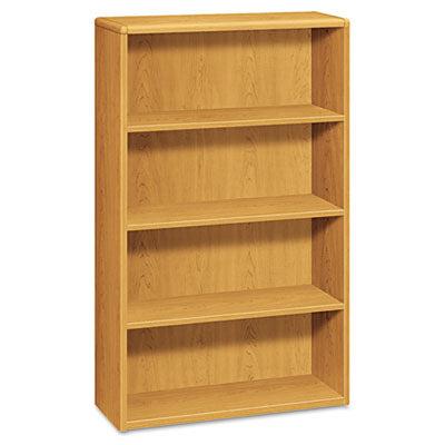 HON 10700 Series Wood Bookcase, Four Shelf, 36w x 13 1/8d x 57 1/8h, Harvest