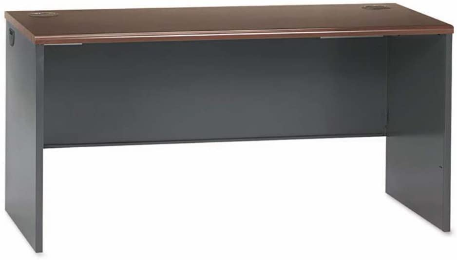 HON 38000 Series Desk Shell, 60w x 30d x 29.5h, Mahogany/Charcoal (38932NS)