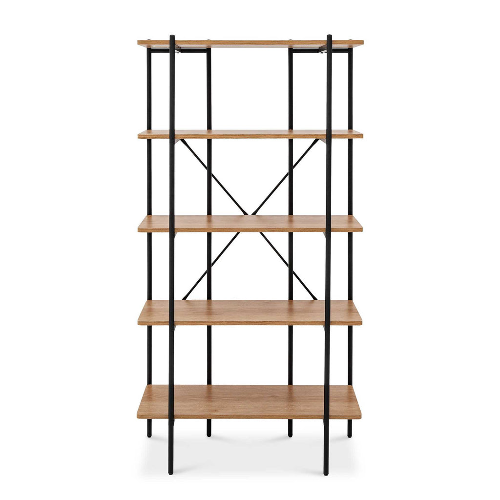 Monster Living Querencia 63 in. Beige Wooden 5-Shelf Standard Bookcase with Metal Frame
