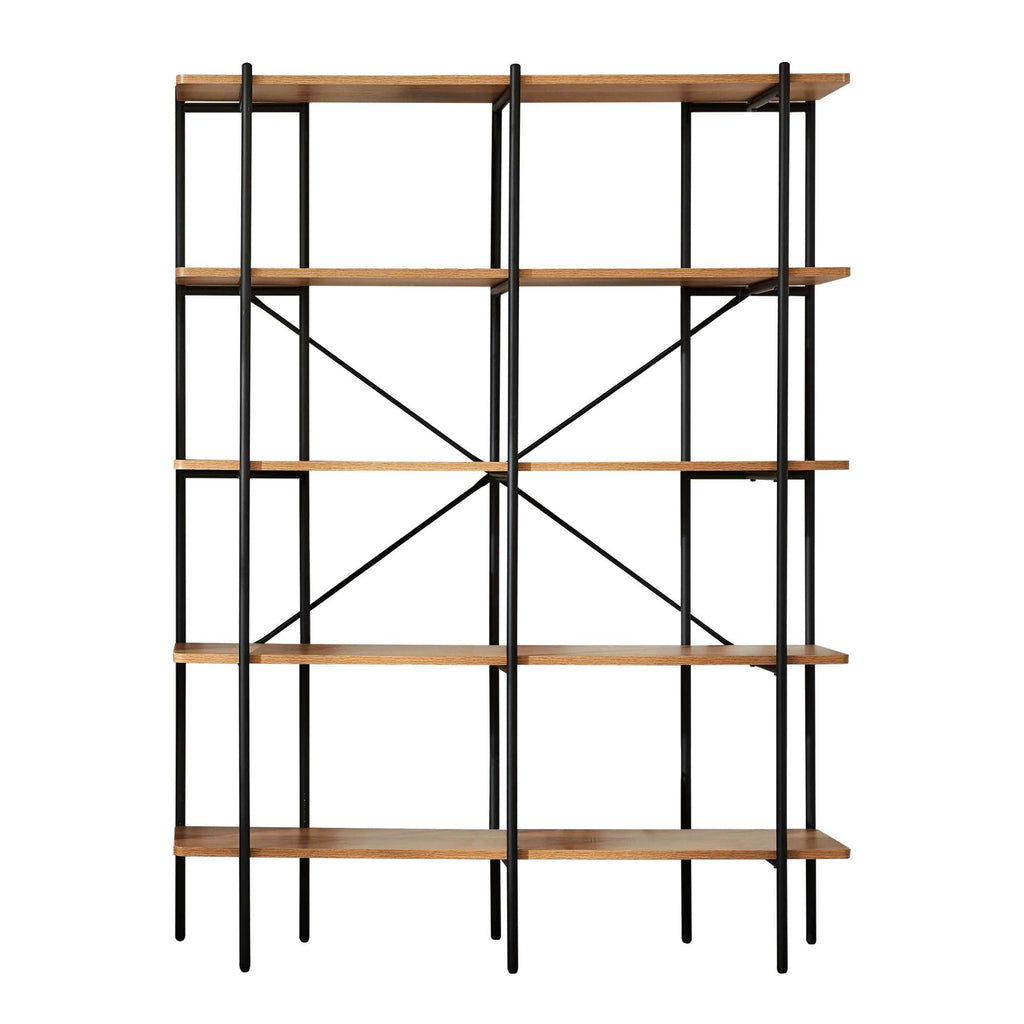 Monster Living Querencia 63 in. Acacia Wood 5 Shelf Standard Bookcase with Metal Frame