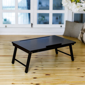 Homestead 1-ft x 24-ft Indoor Rectangle Wood Black Foldable Laptop Tray