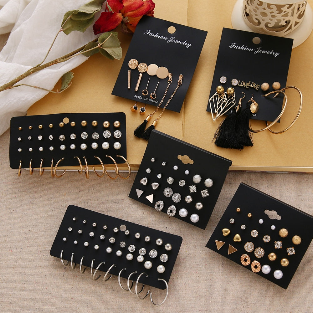 12 Pairs Flower Women'S Earrings