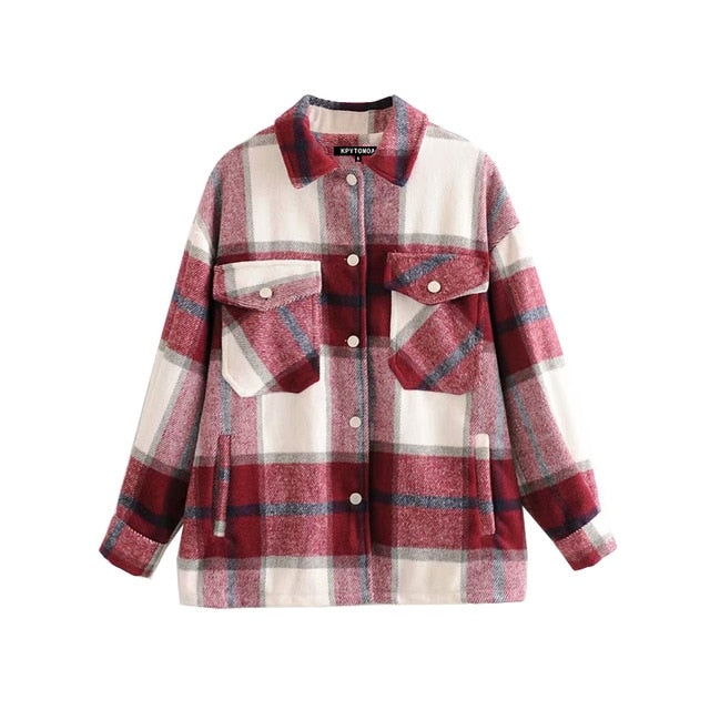 Vintage Stylish Pockets Oversized Plaid Jacket