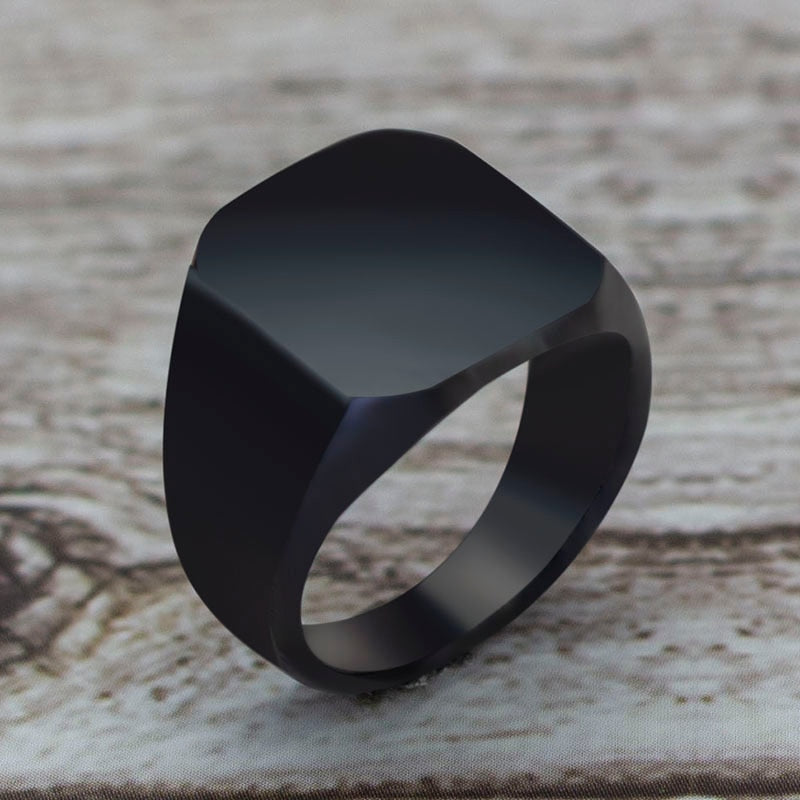 2020 Fashion Simple Style Black Square Ring