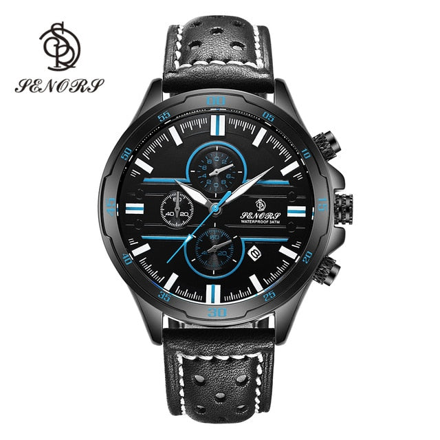 Senors Casual Sport Quartz Watches for Men Top Brand Luxury Military Black Leather WristWatch