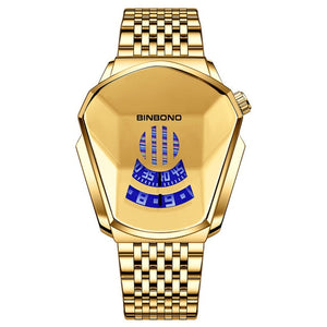Fashion Cool Locomotive Mens Watches Top Brand Luxury Quartz Gold Wristwatch