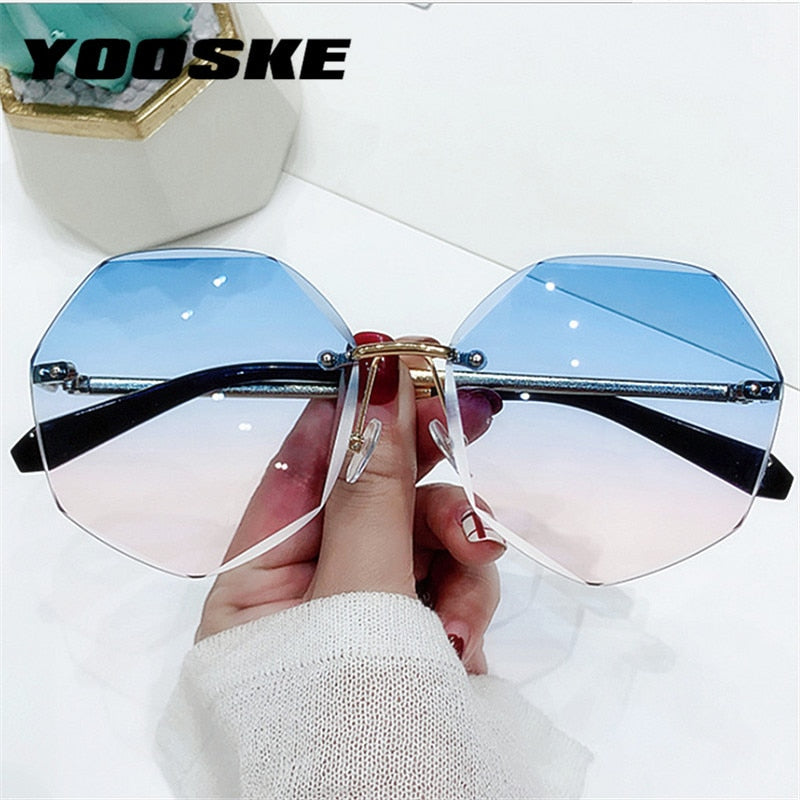 YOOSKE Rimless Women's Sunglasses Design Fashion Lady Sun glasses