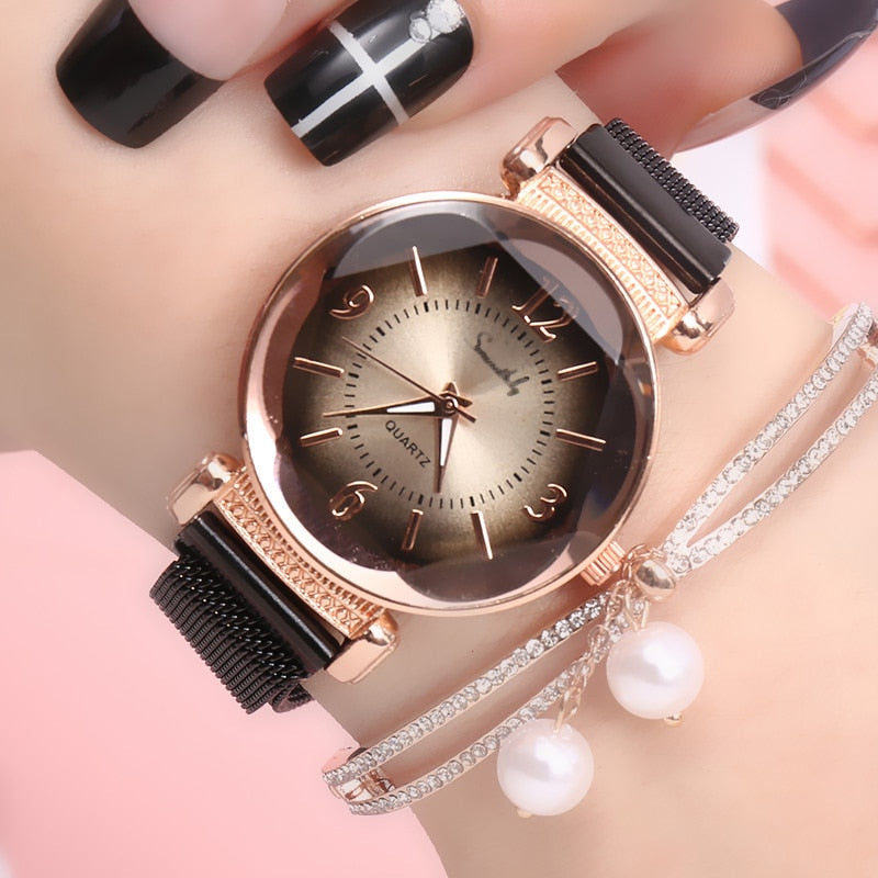 Luxury Fashion Women Watch Geometric Roman Numeral Quartz