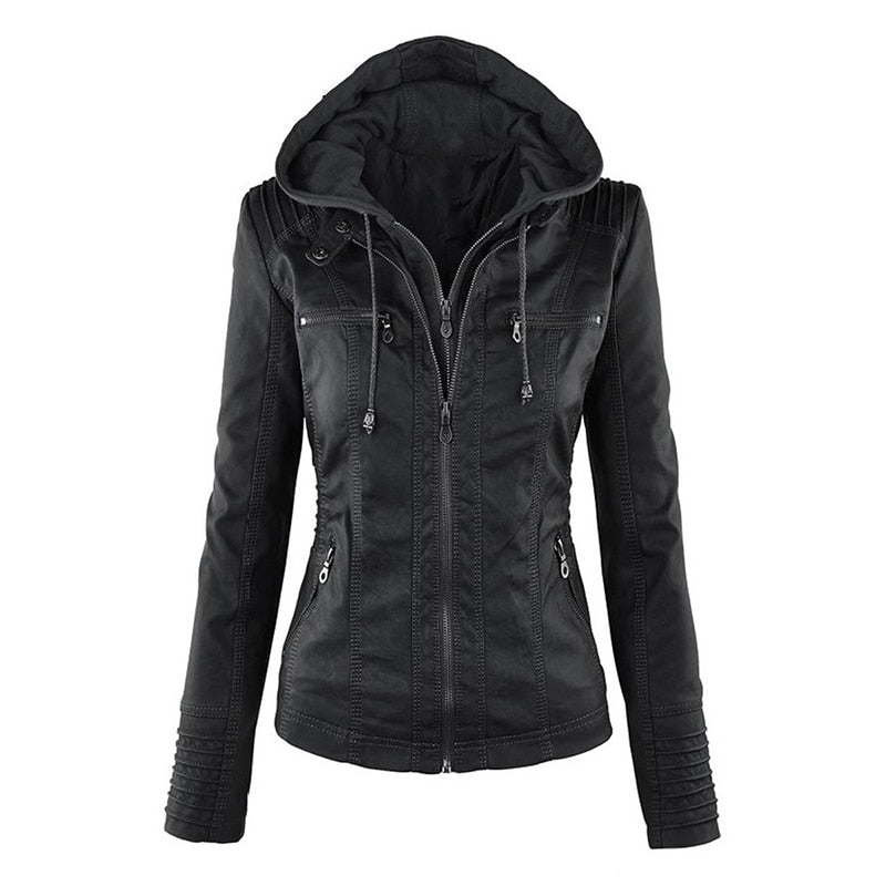 New Women Autumn Winter Faux Soft Leather Jackets