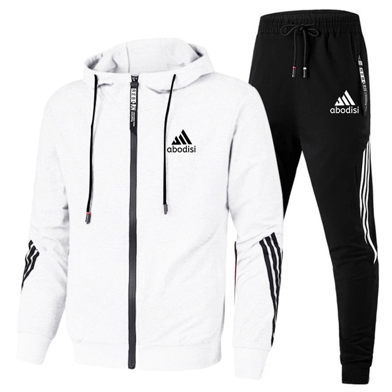 spring and autumn brand fashion men's two-piece striped sportswear