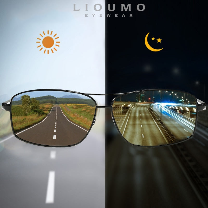 LIOUMO Top Photochromic Sunglasses Men Women Polarized Chameleon Glasses
