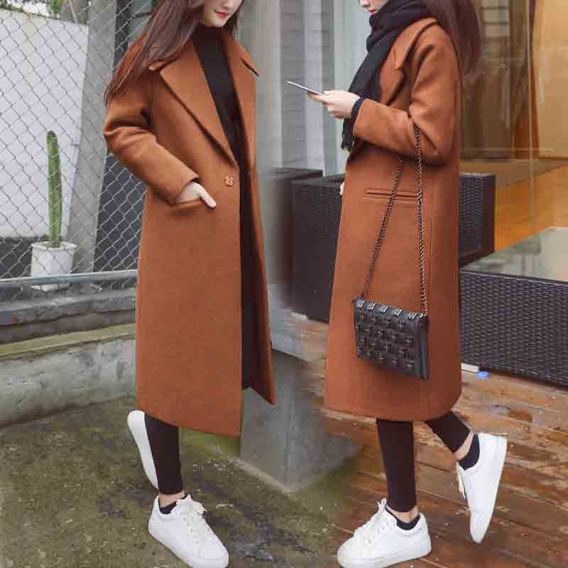 Women's Winter Black Long Wool Coat Outerwear