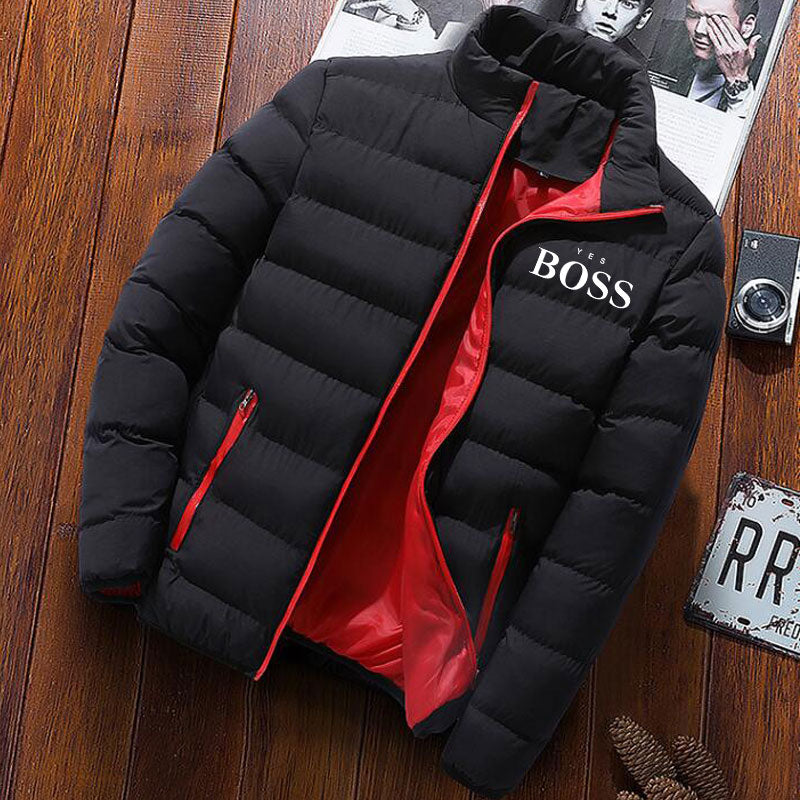 YES BOSS Print Winter Jacket Men Thick Warm Jacket Slim Casual Hooded