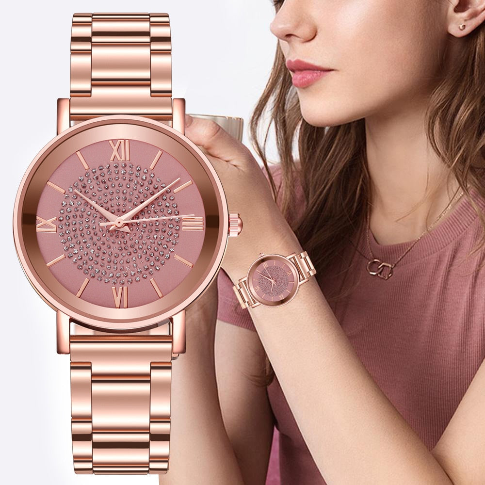 Women Watches Luxury Diamond Rose Gold Ladies Wrist Watches