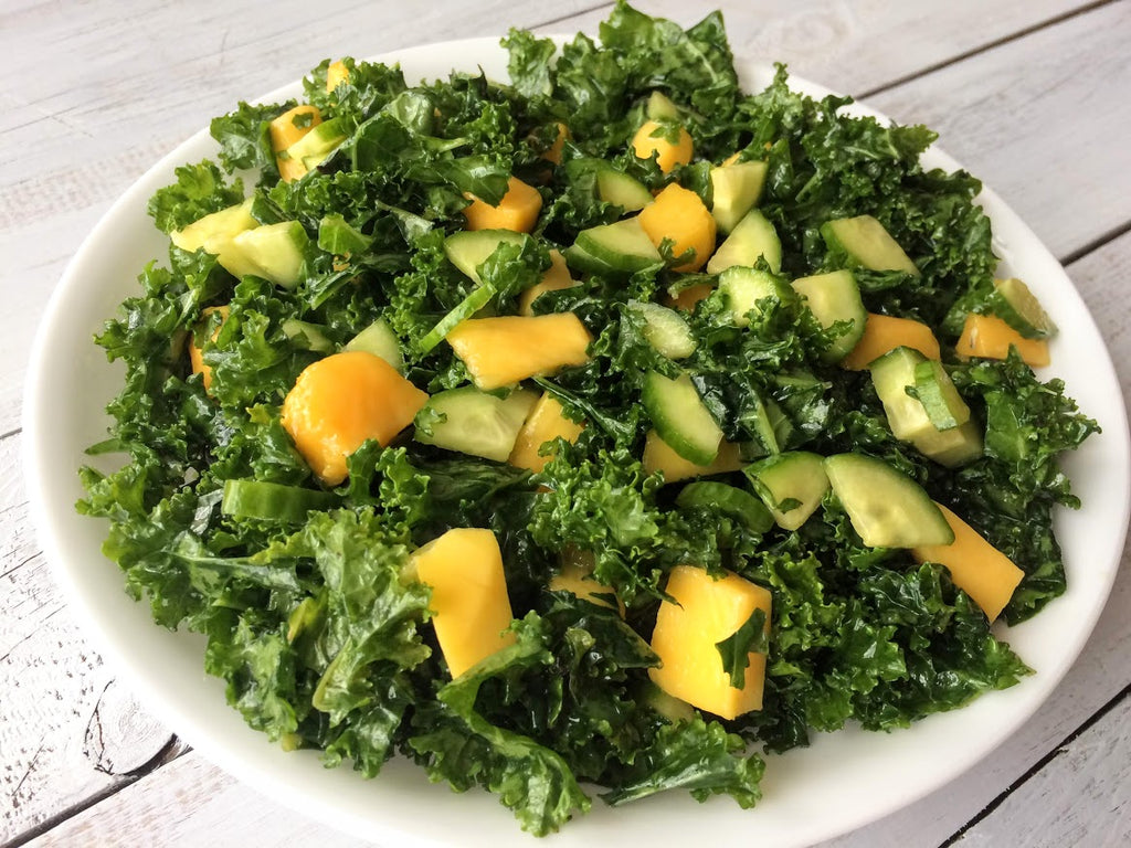 Massaged Kale Salad with Mangoes and Cucumbers