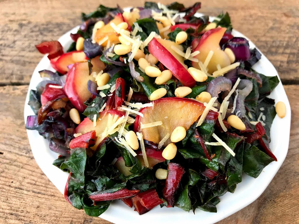 Sauteed Swiss Chard with Apples and Pine Nuts