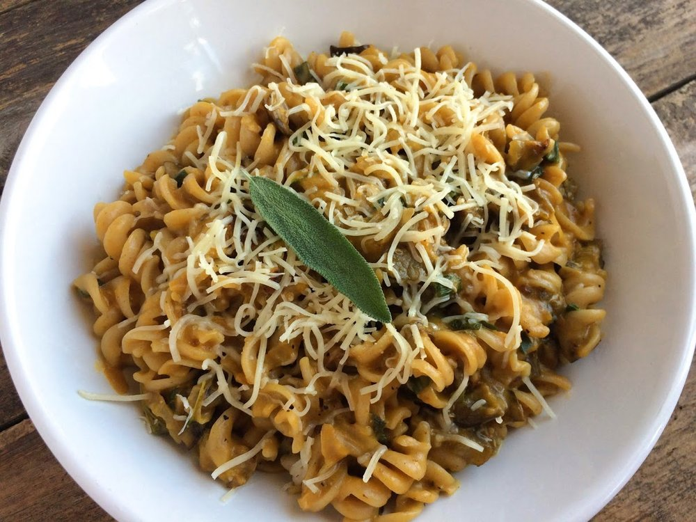 Winter Squash Pasta with Roasted Eggplant