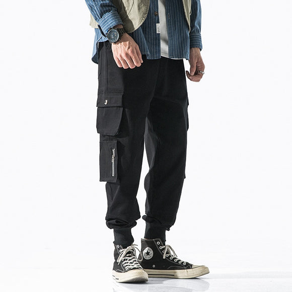 Men's Cargo Pants Cotton Joggers Casual Drawstring Pants for Men Streetwear Loose Man Trouser Trendy Tie Feet Pants Fashion