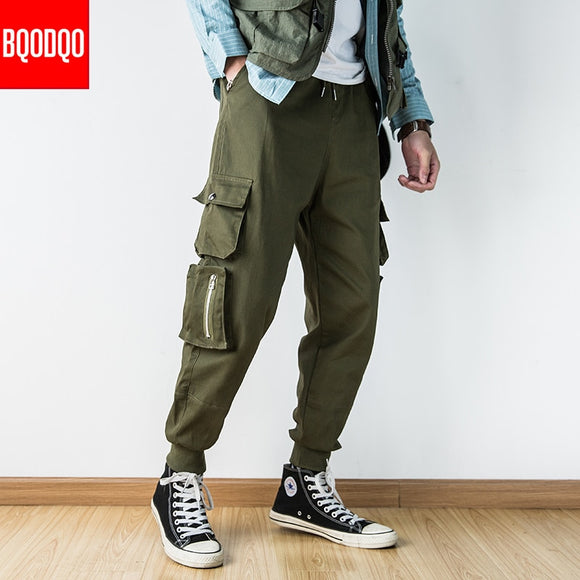 BQODQO Hip Hop Hombre High Street Kpop Casual Cargo Pant Men Harajuku Pencil Pants Many Pockets Joggers Modis Streetwear Trouser