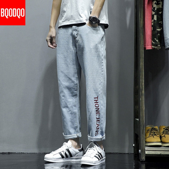 Denim Embroidery Jeans Men Blue Autumn Streetwear Casual Baggy Pant Vintage Male Hip Hop Straight Ankle-Length Pants PLUS SIZE