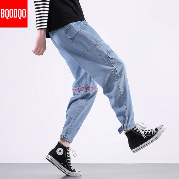 XL Jeans Korean Fashion Men Baggy Hip Hop Black Autumn Stranger Streetwear Denim Pant Mens Brand Blue Fashion Social Harem Pants