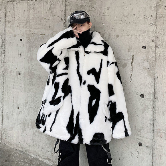 Privathinker Man Loose Fur Casual Oversize Parkas 2020 Winter New Woman Graphic Printed Coats Thicken Man Streetwear Clothing