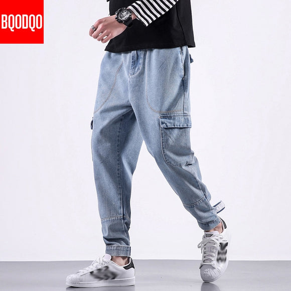 BQODQO Fashion Jeans For Men Casual Pants Men's Hip Hop Streetwear Stylish Trouser Comfortable Joggers Japanese Harem Pants Male