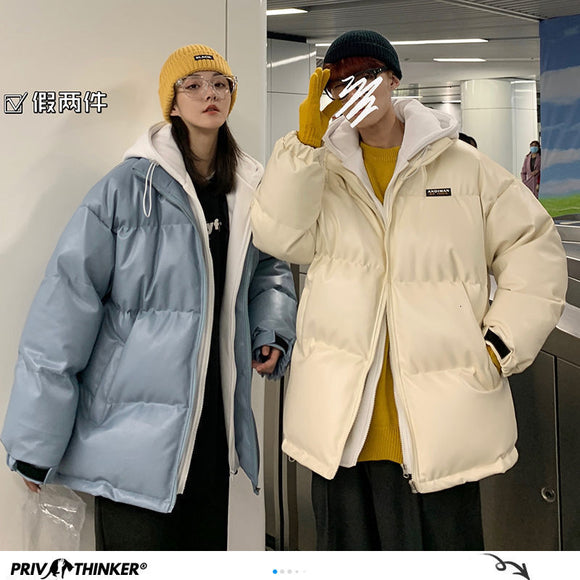 Privathinker Thicken Zipper Couple Parkas Men's 2020 Winter New Hooded Warm Streetwear Woman Clothes Oversize Man Parkas