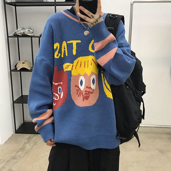 Privathinker Funny Printed Couple Sweater 2020 Autumn Winter Pullovers Men's Fashion Casual Oversize Streetwear Male Clothing